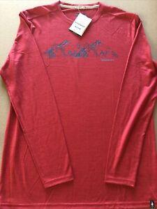 NWT SmartWool Merino Sport 150 Upper Slopes Red Long Sleeve Graphic Shirt Sz L