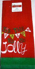 """Christmas Towel TIS THE SEASON TO BE JOLLY  100% Cotton   16"""" x 26"""""""