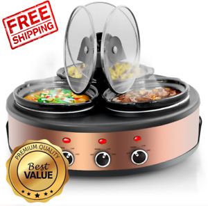 MegaChef Triple 1.5 Quart Slow Cooker and Buffet Server in Copper