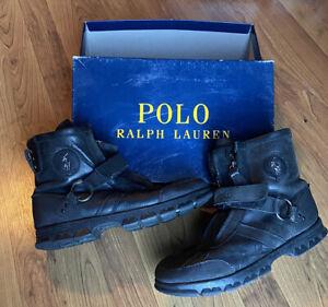 Polo Ralph Lauren Conquest Hi III Mens Black Combat Biker Zip Leather Boots Sz10
