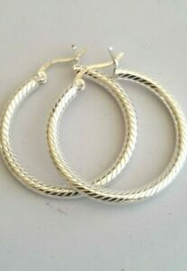 Real 925 Sterling Silver Large Twisted Dangle Round Hoop Earrings 30MM Gift