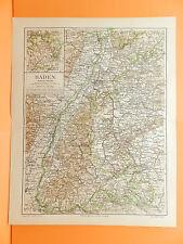 Baden  Karlsruhe Mannheim Freiburg Konstanz Feldberg Villingen Landkarte um 1900