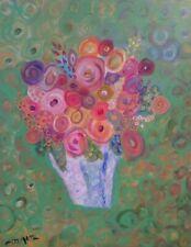 Modern still life Flowers Painting Original Signed modern art VINTAGE ART master
