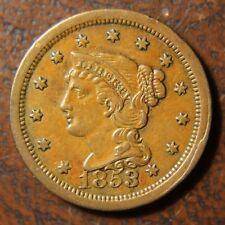 1853 Braided Hair Large Cent, N-14, Nice Obverse Cud