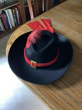 Black Felt Hat With Red Feather