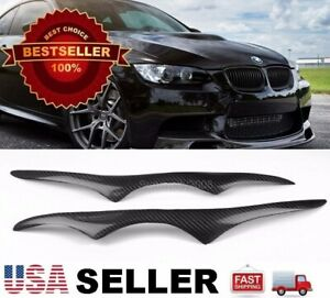 Real Carbon Fiber Headlight Eyelids Eyebrows For BMW 07-10 E92 E93 3 Series