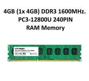 unimega 4GB (1x 4GB) DDR3 1600MHz PC3-12800U 240PIN 1,5V PC RAM Speicher Memory