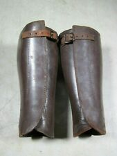 Antique Meyer Ny Civil War Wwi Leather Riding Calf Guards Shin Gaiters Leg Brown