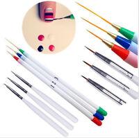6Pcs Set Acrylic French Nail Art Pen Brush Painting Drawing Liner Manicure Tools
