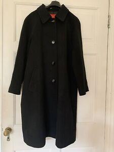 Beautiful Quality Vintage Black 100% Cashmere Long Trench Coat VGC M