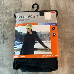 ClimateRight Cuddl Duds Stretch Fleece Long Sleeve Crew Black Small S Top Shirt