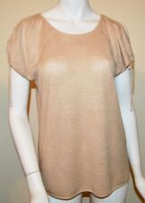 DKNY BROWN  LINEN KNIT OPEN TIE SLEEVE TOP SZ MEDIUM