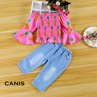 Toddler Kids Baby Girl Off Shoulder Top Pants Pineapple Outfits Set Clothes 1-5T