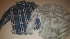 2 Boys Small Old Navy Long Sleeve Button Up, Oxford Style.  Blue, Green, White
