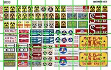 9009 DAVE'S DECALS HALF SET RADIOACTIVE FALLOUT SHELTER AIR RAID CIVIL DEFENCE