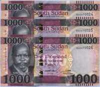 South Sudan 1000 Pound 2020 / 2021 P NEW Dennomination UNC Lot 3 Pcs