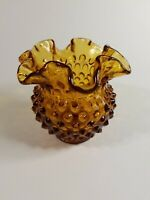 Fenton Ruffled Hobnail Vase Chocolate Amber Brown