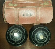 Lawn Bowling Antique Jaques & Sons London Standard Bowls in Leather Bag