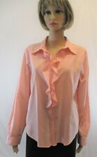 Hunt Club Women's Size L Cotton Pink Button down Blouse, Ruffles, Long sleeve