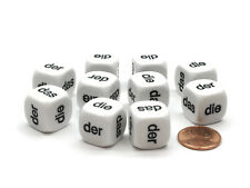 Pack of 10 D6 16mm German Article Dice - White with Black Words