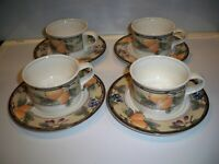 4 MIKASA INTAGLIO CAC29 ''GARDEN HARVEST'' CUPS AND SAUCER PLATES
