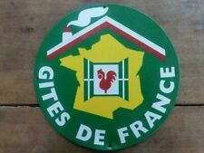 Ancienne Plaque en tôle GITES DE FRANCE Hotel COQ 35cm Années 60/70 b