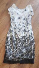 Ladies 'ROMAIN' Black/White sleeveless lined Dress. Size 14. vgc