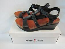 Minnetonka Black Della Sandals Size 7 *New*