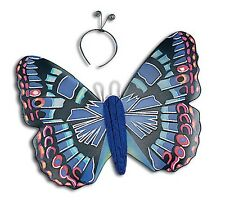 Butterfly Adult Fancy Dress Costume Wings & Headband - Blue