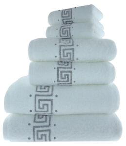 Luxury 100% Cotton Greek Key Embroidered Bath Towel 3 Piece Gift Bale Set