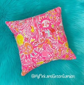 New throw pillow made with LILLY PULITZER Pink Pout Kinis In The Keys fabric
