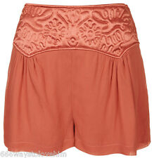 Topshop Pretty Embosssed Panel Chiffon Shorts/Culottes 14 42 Blush/Coral-Red New