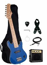"Raptor Kid's 30"" Blue Electric Guitar Starter Pack + 3W Amp, Bag, Strap, Cable"