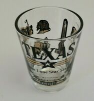 Texas Shot Glass Souvenir Lone Star State Black and Gold Vintage