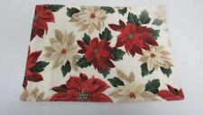 Christmas Holiday Placemat Ivory w/Red & Off White Poinsettia Green Leaves NEW