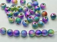 "100 Peacock Multi-Color Stardust Acrylic Round Beads 10mm(3/8"") Spacer Finding"