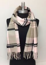 New 100% CASHMERE SCARF Check Plaid Scotland Soft Warm Wool Color Pink/black/tan