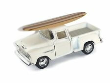 """5"""" 1955 Ivory Chevy Pickup Truck with Surfboard and Pullback Motor Action"""