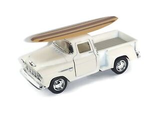 "5"" 1955 Ivory Chevy Pickup Truck with Surfboard and Pullback Motor Action"