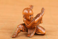 chinese old boxwood hand carved Buddha figure statue kung fu table decoration