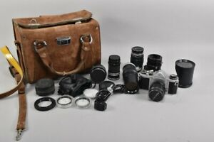 h12a83- Kamera Asahi Pentax u. verschiedene Objektive in Ledertasche
