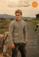 KNITTING PATTERN Mens Cable Aran Style Jumper Textured Sweater Drops DK PATTERN