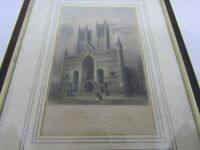 Antique engraving of Lincoln Cathedral - Lincolnshire coloured framed art