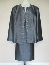 Kasper 3 Piece Skirt Suit 24W black gray pewter embellished