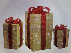 Set of 3 Tall Lighted Sisal Gift Boxes RED OR GOLD~ w/ Decorated Bows~Christmas
