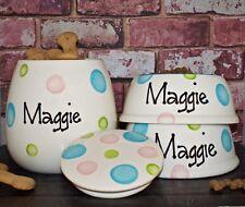 Large Personalised Hand Painted Ceramic 2 slanted dog bowls large treat jar set