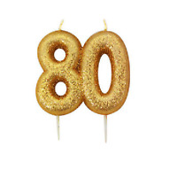 80th Birthday Cake Candle Gold Anniversary Glitter Age Number Party Topper Gift