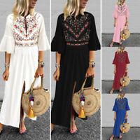 ZANZEA Damen Mode Sommer Träger Geblümt Langes Lässig Strand Party Bequem Kleid