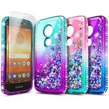 For Motorola Moto e5 (XT1920DL) Case Liquid Glitter Soft Cover + Tempered Glass