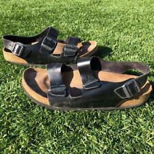 VTG Birkenstock Black Leather 3 Strap Sandal Shoes Sz 44